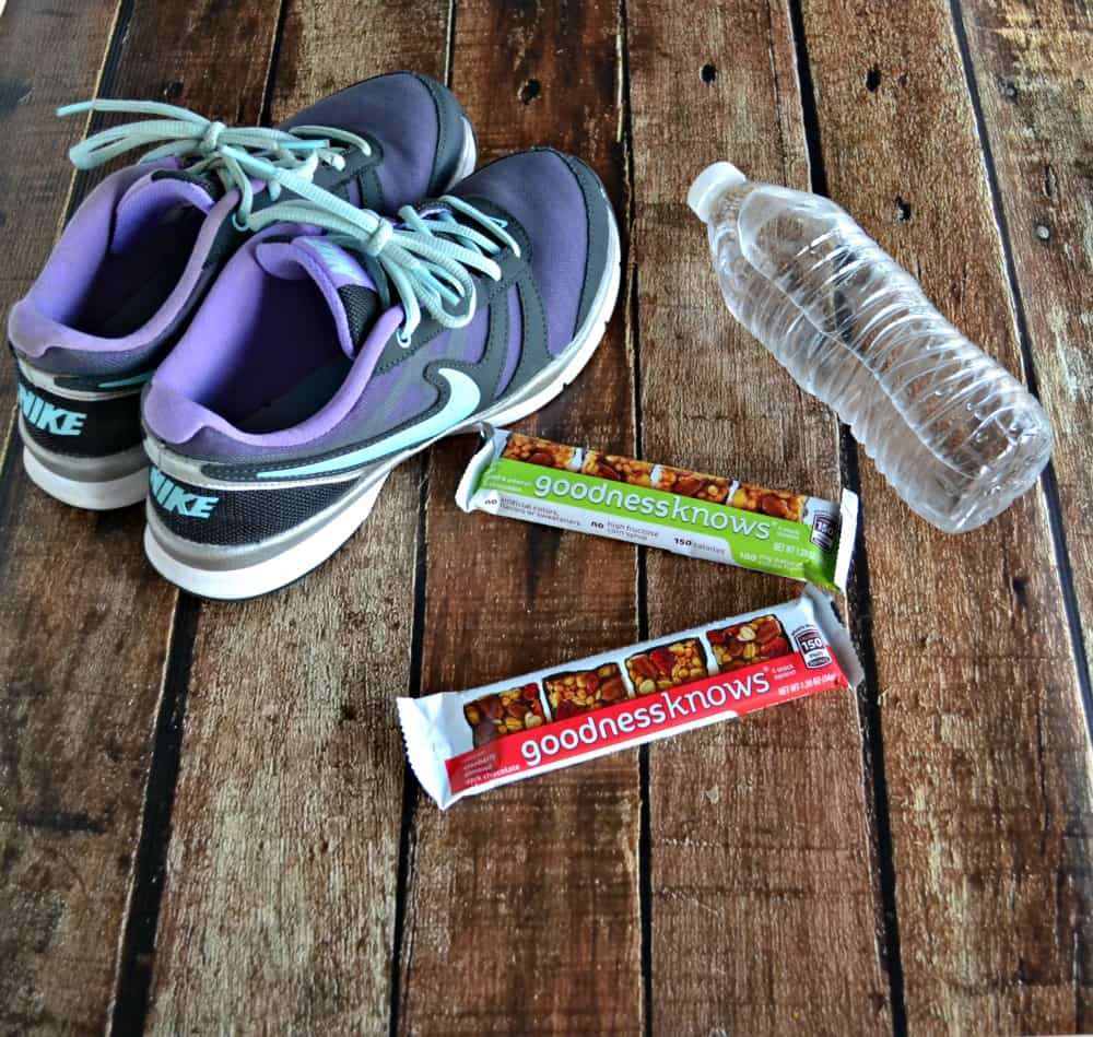 Everything I need for my workout: athletic shoes, water bottle, and goodnessknows snack squares!