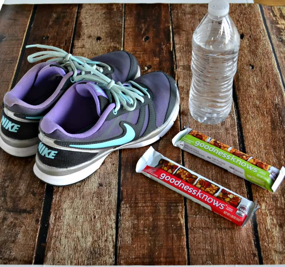 Every workout needs a water bottle, athletic shoes, and a delicious snack like goodnessknows snack squares!