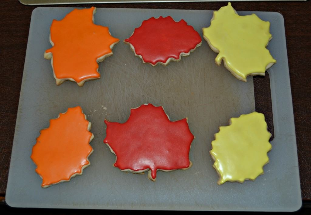 Red, orange, and yellow Leaf Cookies