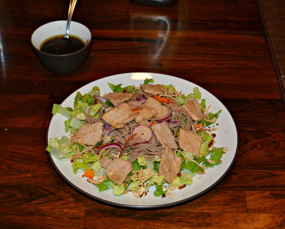 Enjoy a delicious and easy Asian Pork Noodle Salad with soy dressing