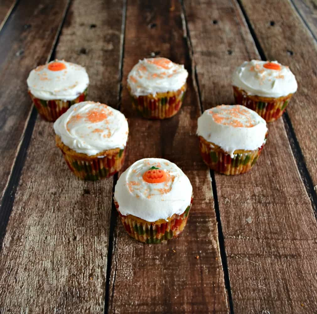 I'm loving these festive Pumpkin Butterscotch Cupcakes with Caramel Frosting