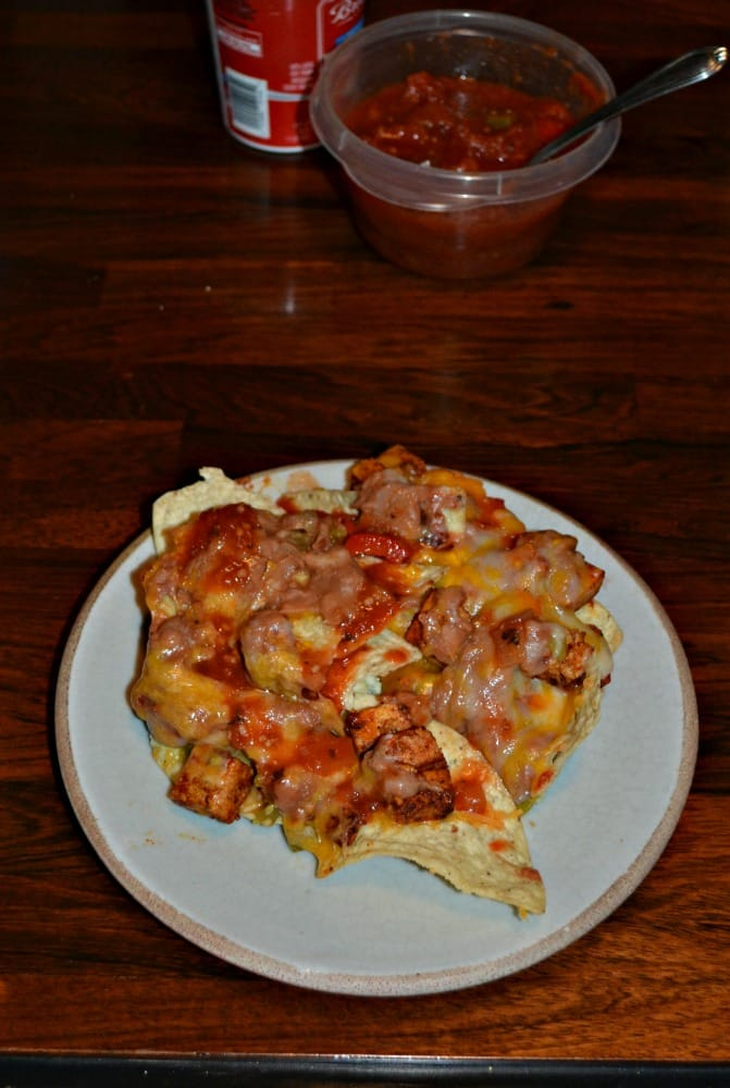 Tofu Nachos are a great way to add protein to your meal without meat!