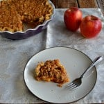Apple Pear Pie with Crumble Topping and Caramel Drizzle