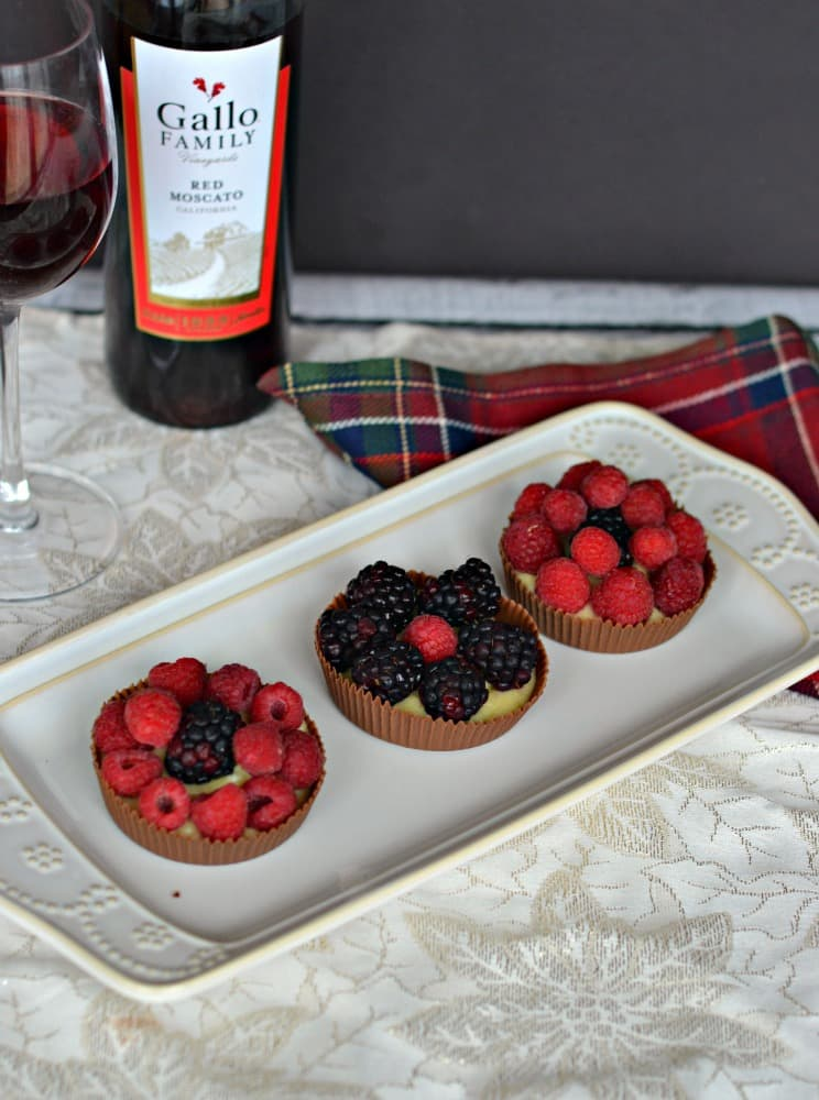 Chocolate Cups FIlled with Cinnamon Pastry Cream and topped off with Fresh Berries