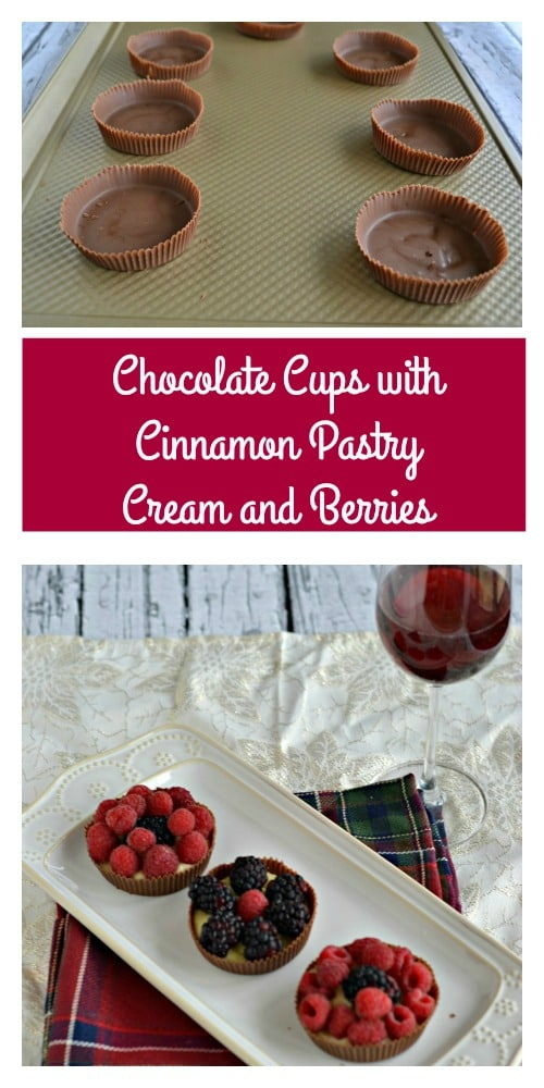 Chocolate Cups with Cinnamon Pastry Cream and Berries paired with Gallo Family Vineyards Red Moscato Wine