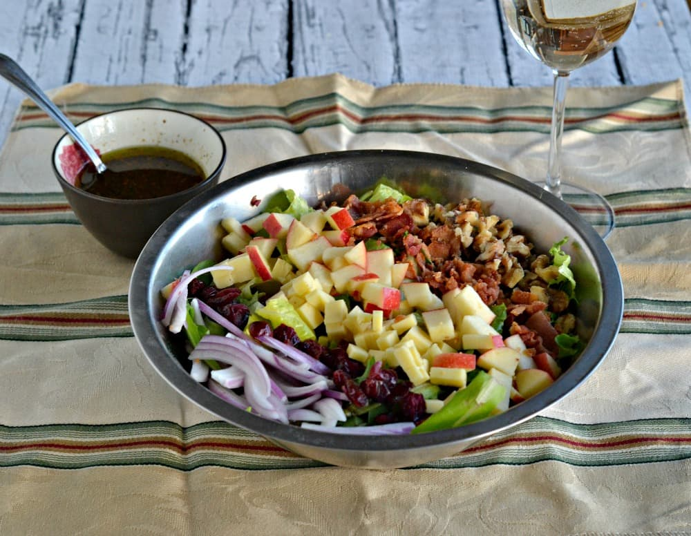 Harvest Salad with homemade vinaigretter and paired with Pinot Grigio