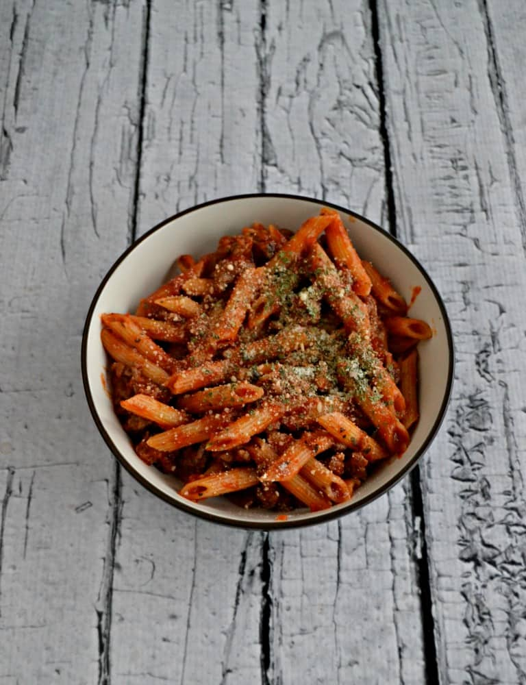 One pot Penne with Meat Sauce is ready in 20 minutes!