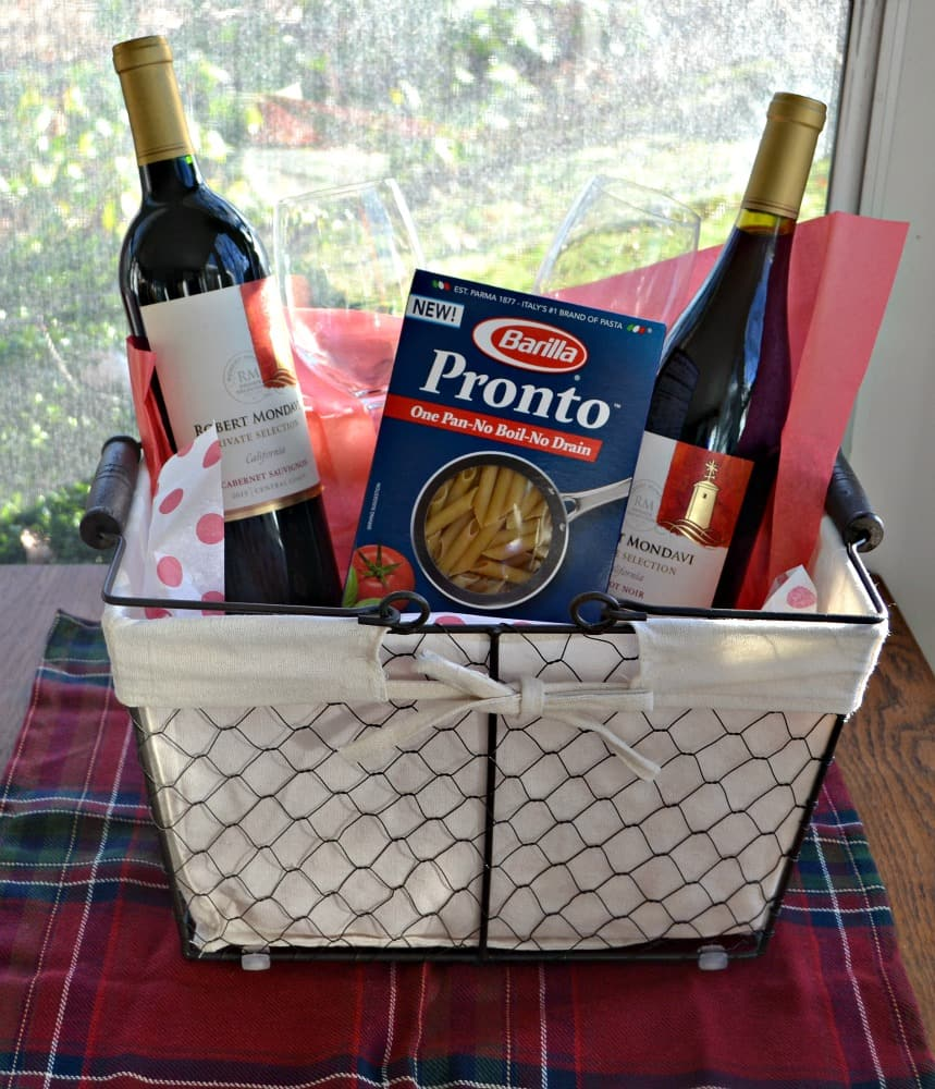 Holiday Entertaining gift basket with all of my favorite foods and beverages to make a holiday meal.