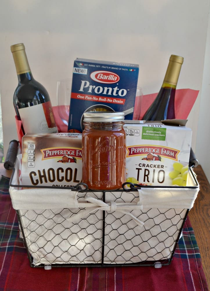 Everything you need to make a delicious meal put in a basket for a hostess!