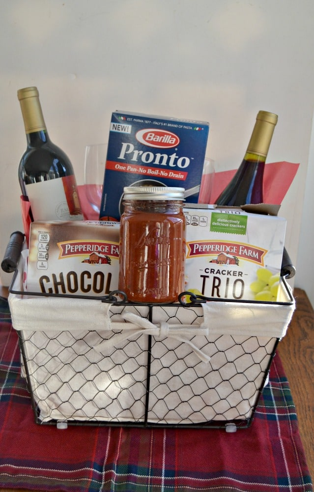 Make this awesome hostess gift basket with everything your hostess needs to make a quick and easy meal!