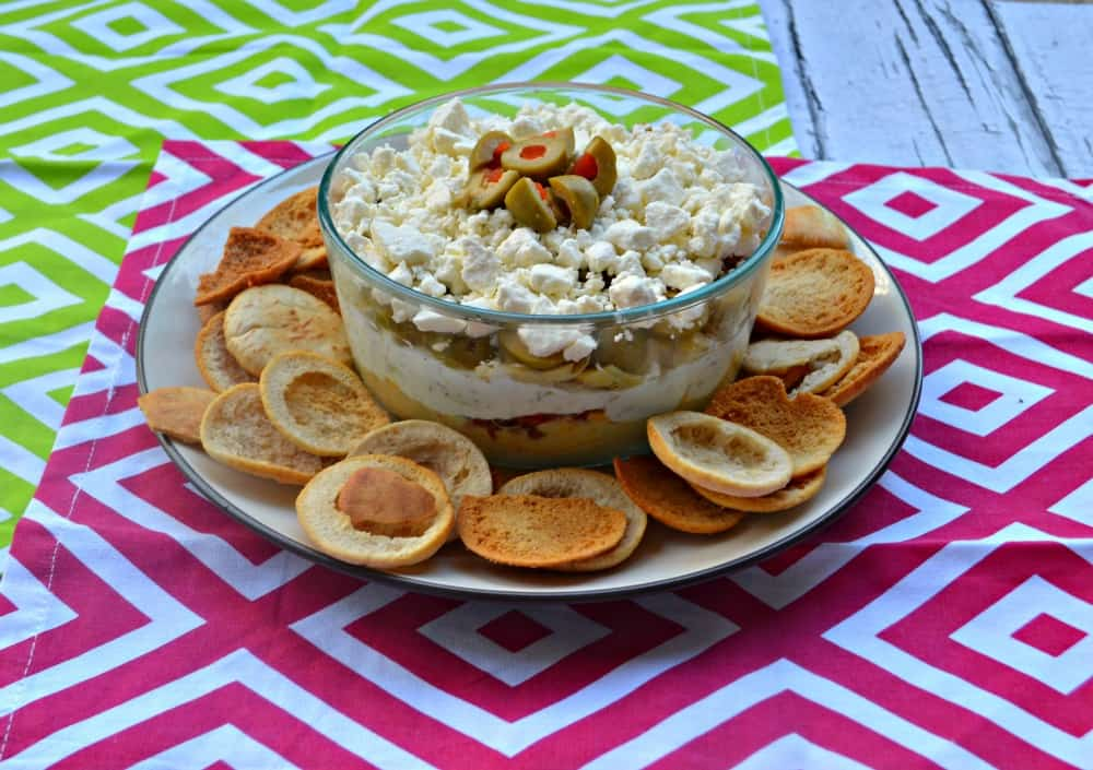 Delicious Mediterranean Layer Dip has all the best flavors of the Mediterranean.