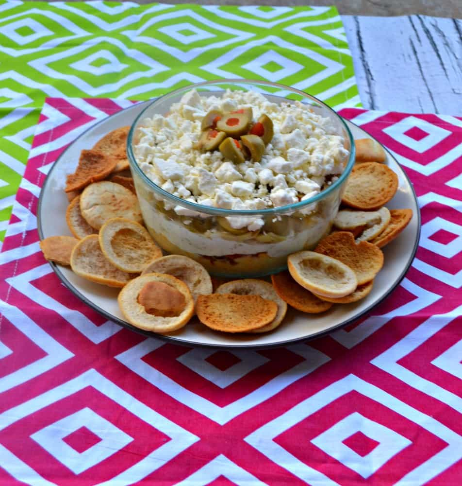 Mediterranean Layer Dip is a delicious and healthier party dip!