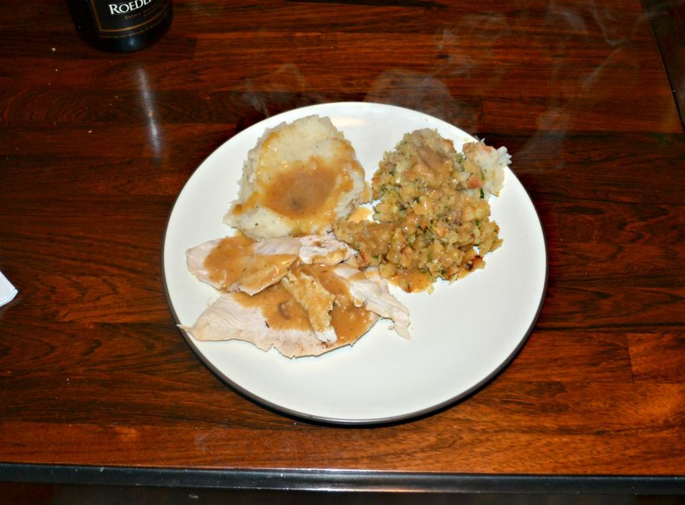 It's Thanksgiving dinner with a Roasted Turkey Breast and Homemade Gravy