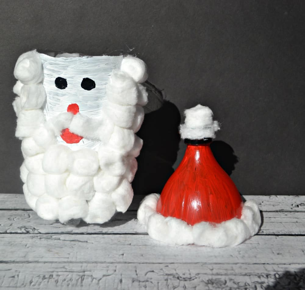 Easy Santa Claus Cookie Jar made with a 2 liter bottle