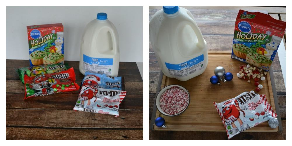 M&M's, peppermint, Funfetti Cake Mix, and Great Value Milk make for a great holiday baking experience