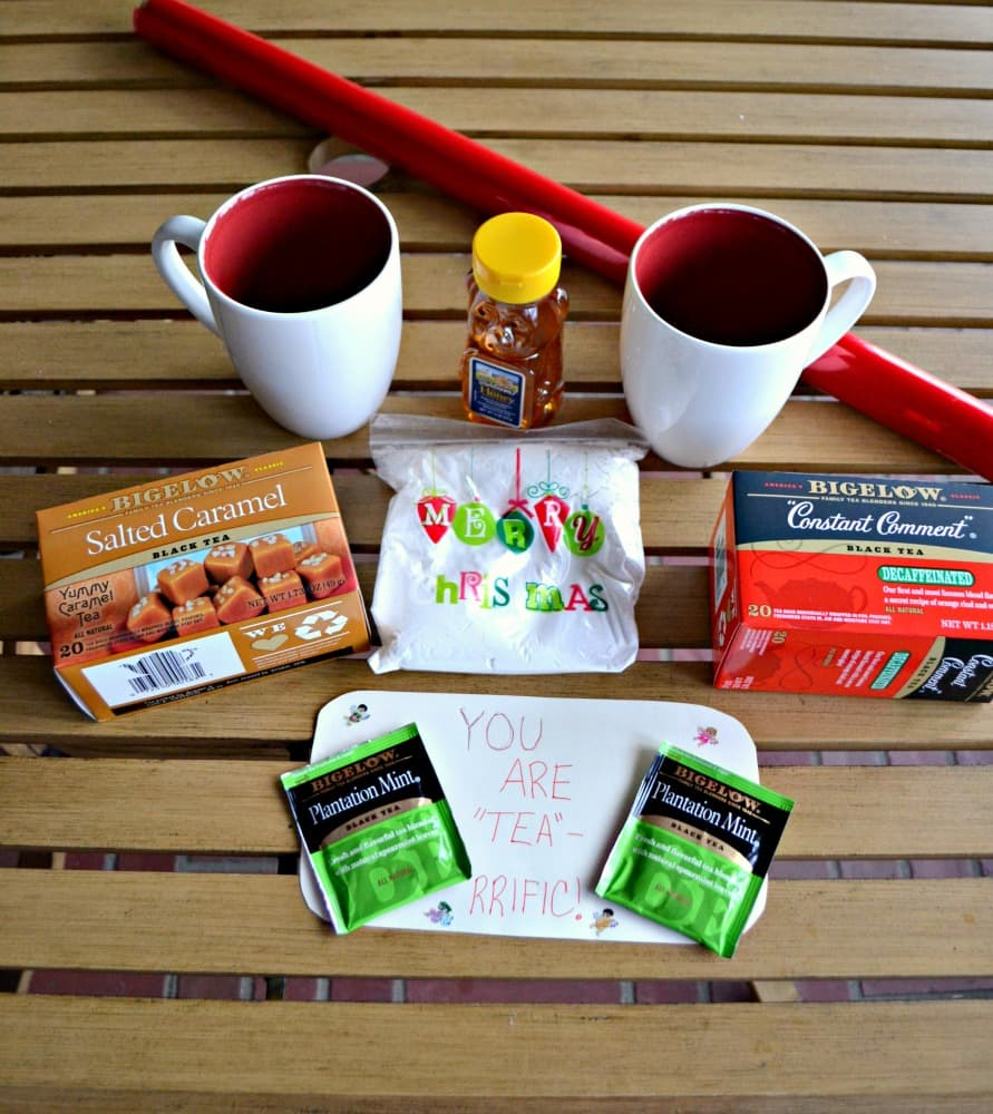 Everything you need to make a Bigelow Tea Gift Basket