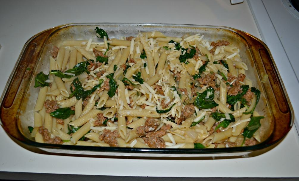 Baked Penne with Spinach and Sausage