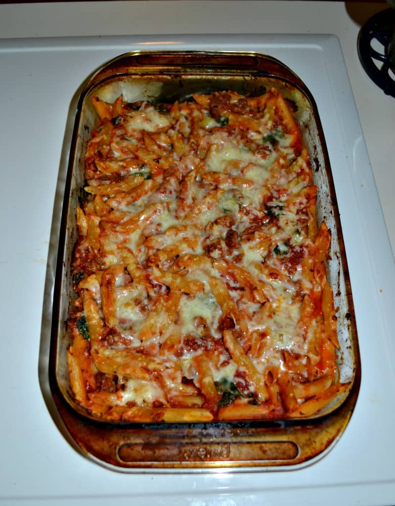 Baked Penne with Ragu Sauce, Spinach, Sausage, and two types of cheese