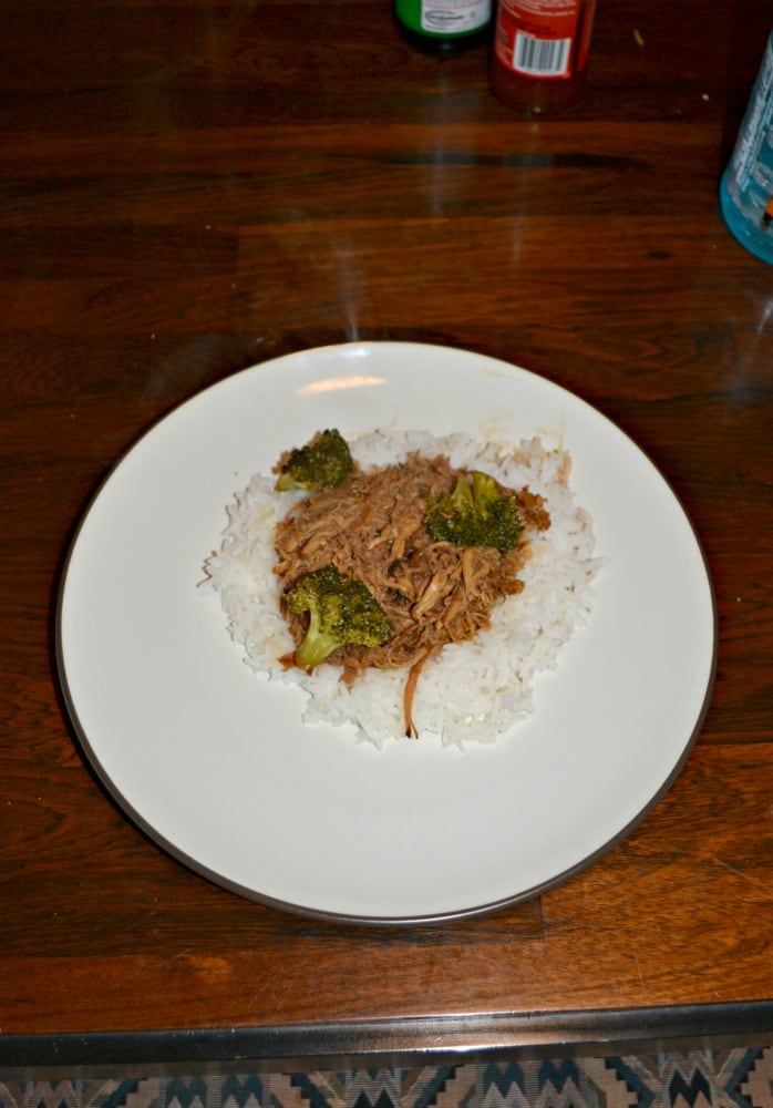 Slow Cooker Bourbon Chicken with Broccoli over rice