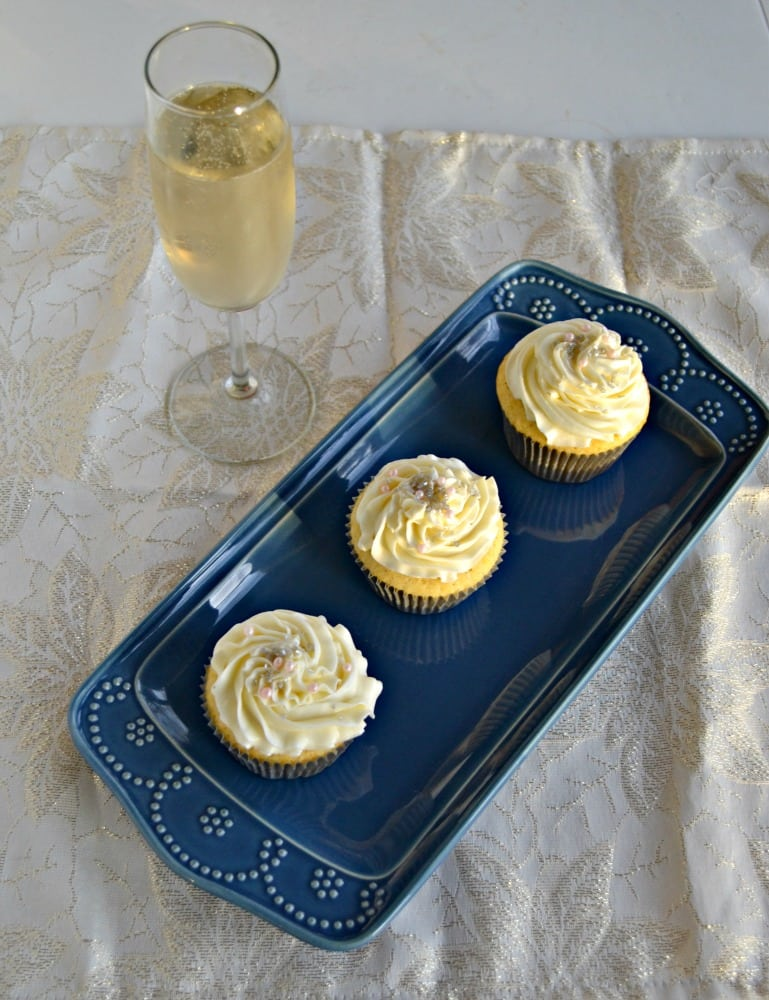 Vanilla Cupcakes with Champagne Frosting are perfect for celebrations