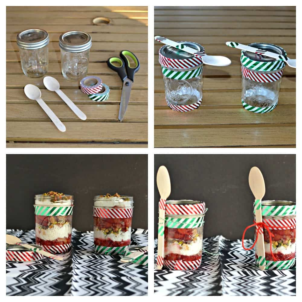 Everything you need to make Cherry Pie Parfaits in easy decorated mason jars