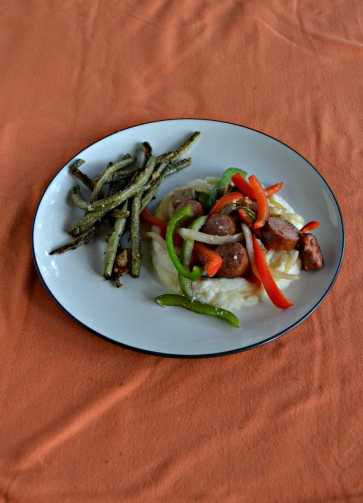 Make an easy weeknight meal with this Kielbasa and Peppers over Mashed Potatoes