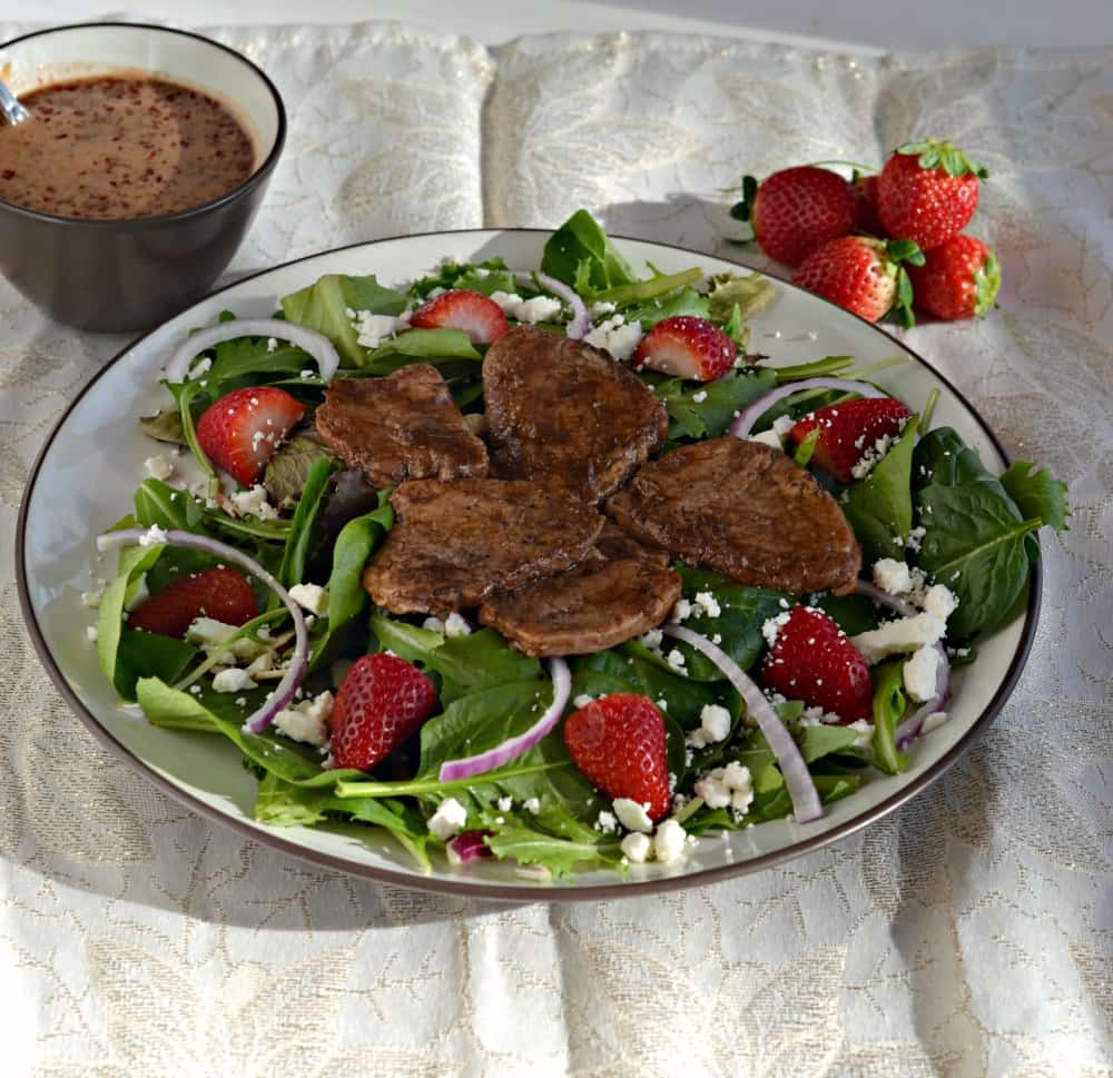 Dig into this Balsamic Pork Salad with Strawberries and Goat Cheese