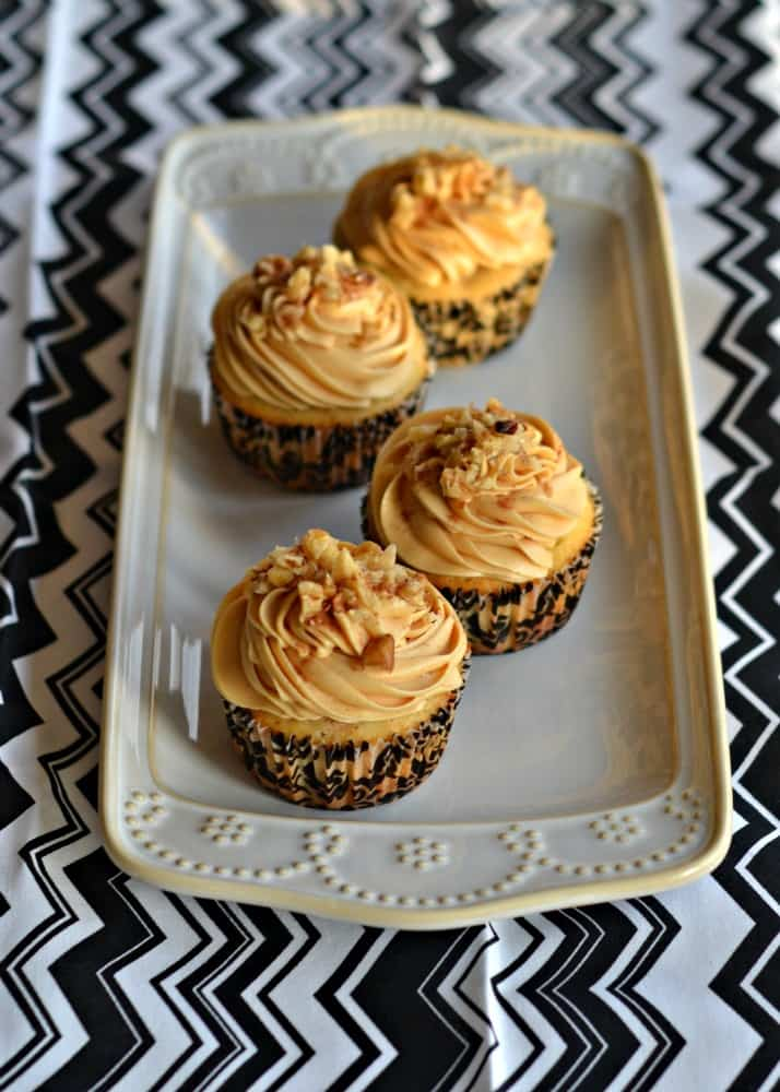 Spiced Walnut Cupcakes with Caramel Frosting