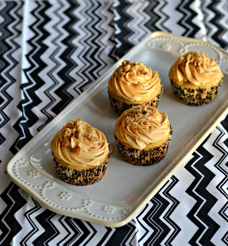 These delicious Spiced Walnut Cupcakes taste amazing with fluffy caramel frosting on top!