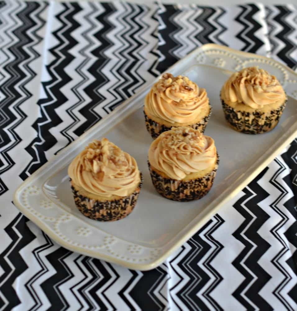 Love these Spiced Walnut Cupcakes with Caramel Frosting