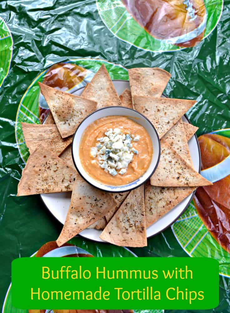 Get ready for the Big Game with Buffalo Hummus and Homemade Tortilla Chips!