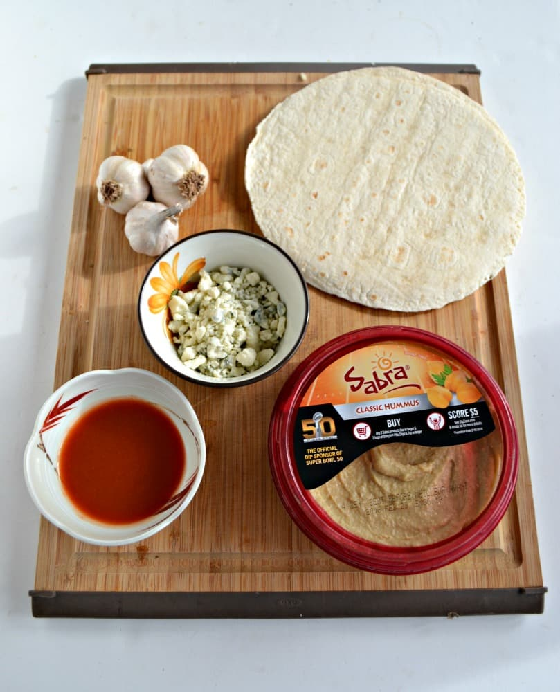 Using Sabra Original Hummus make your own buffalo hummus with Homemade Tortilla Chips
