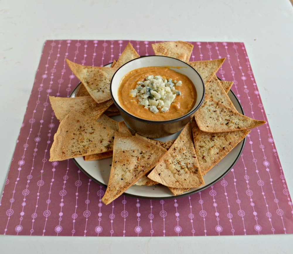 Satisfy your hunger during Game Day with this Buffalo Hummu and Homemade Tortilla Chips!