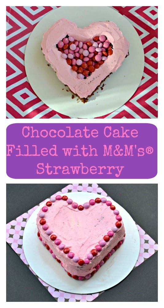 Make a fabulous Chocolate Cake filled with M&M's® Strawberry for Valentine's Day