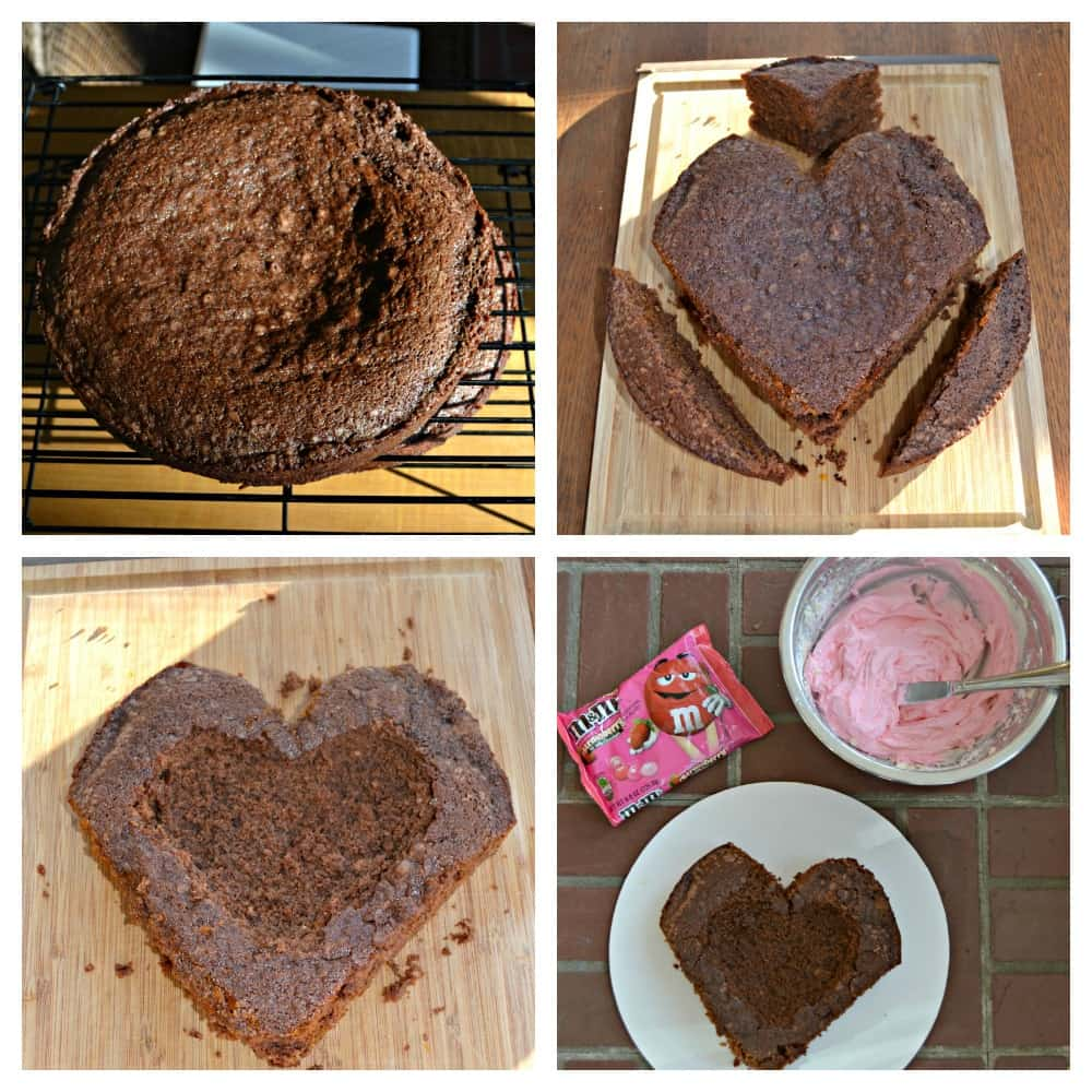 Make this easy heart shaped Chocolate Cake and fill it with M&M's® Strawberry for a sweet surprise