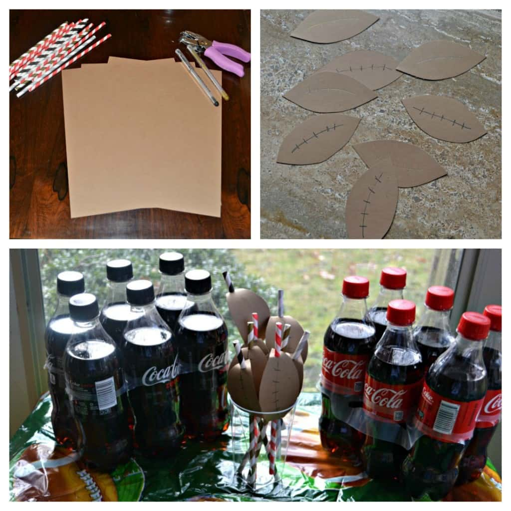 Make these fun Paper Football Straw Accents for Game Day!