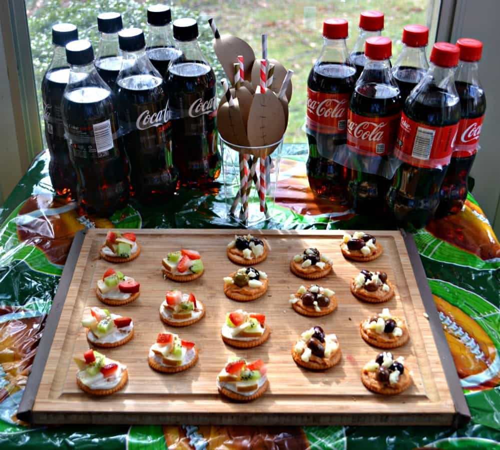 Coca-cola and RITZ cracker fruit tarts and Mediterranean appetizers are perfect for Game Day!