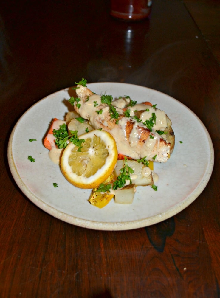 Delicious Chicken with Potatoes and Vegetables and a light cream sauce