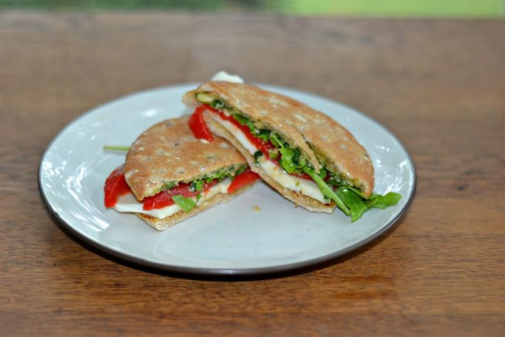 Pesto, Mozzarella, and Roasted Red Peppers on Arnold Sandwich Thins