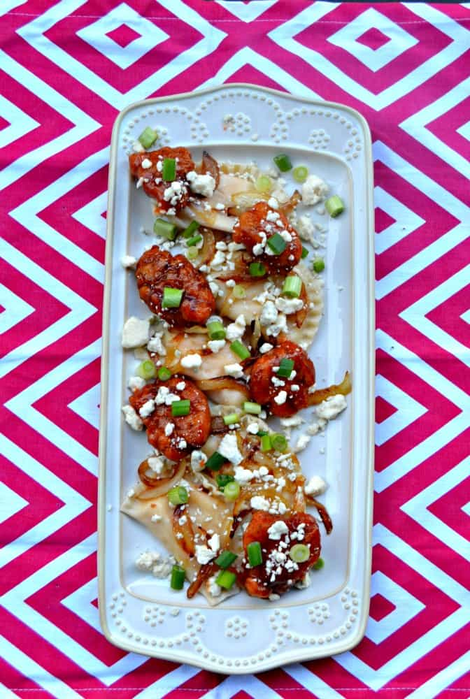Love this twist on poutine with Buffalo Chicken Pierogi Poutine!