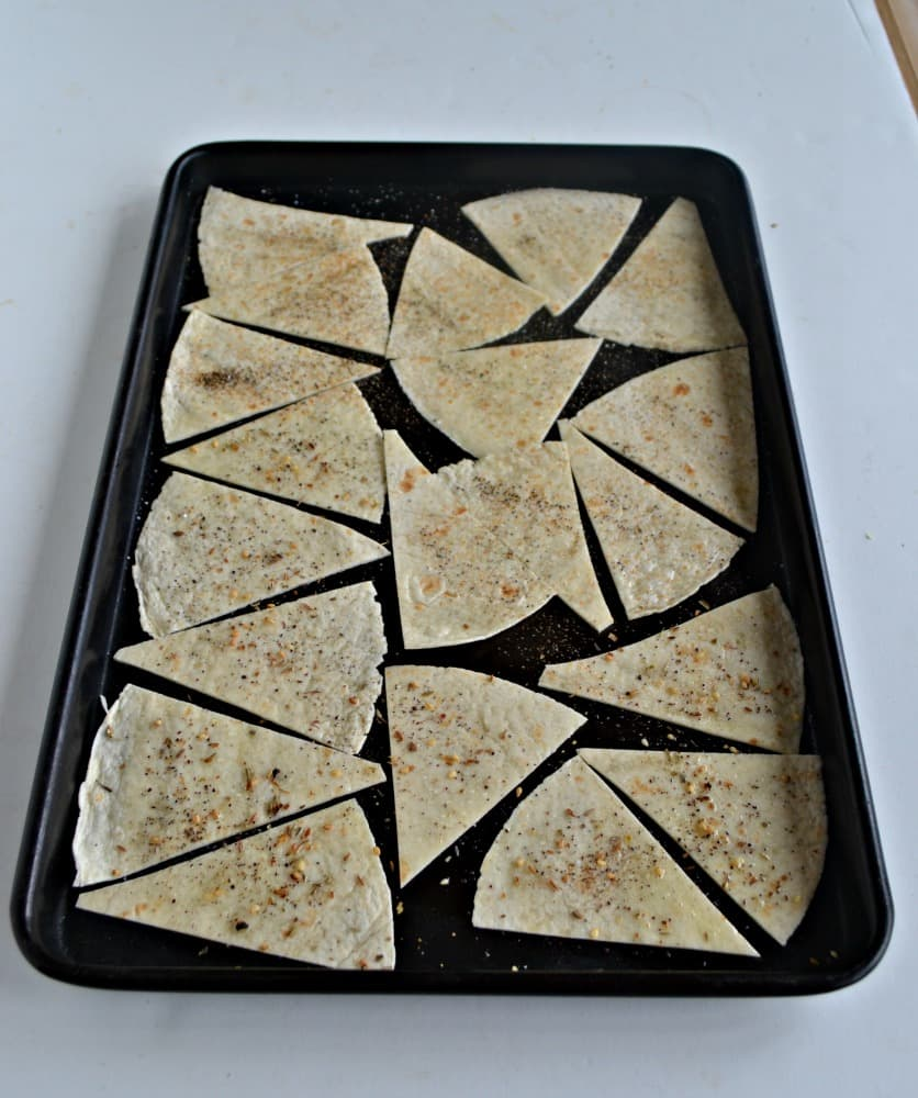 Homemade Tortilla Chips with two different seasonings