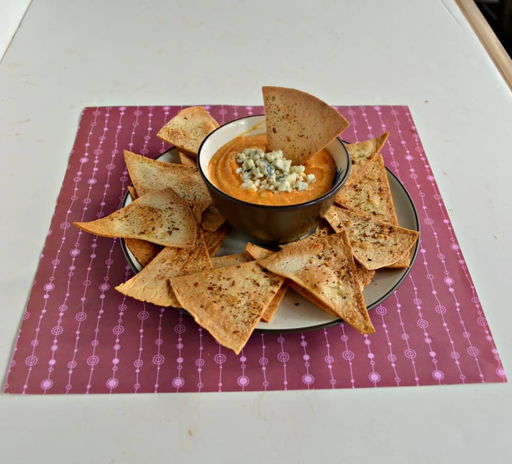 Make Buffalo Hummus with Homemade Tortilla Chips for an appetizer at your next party!
