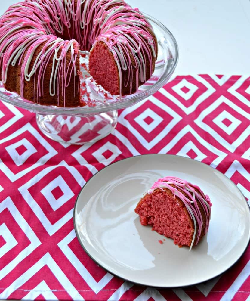 Check out this gorgeous pink Cherry Vanilla Bundt Cake with pink and white drizzle.