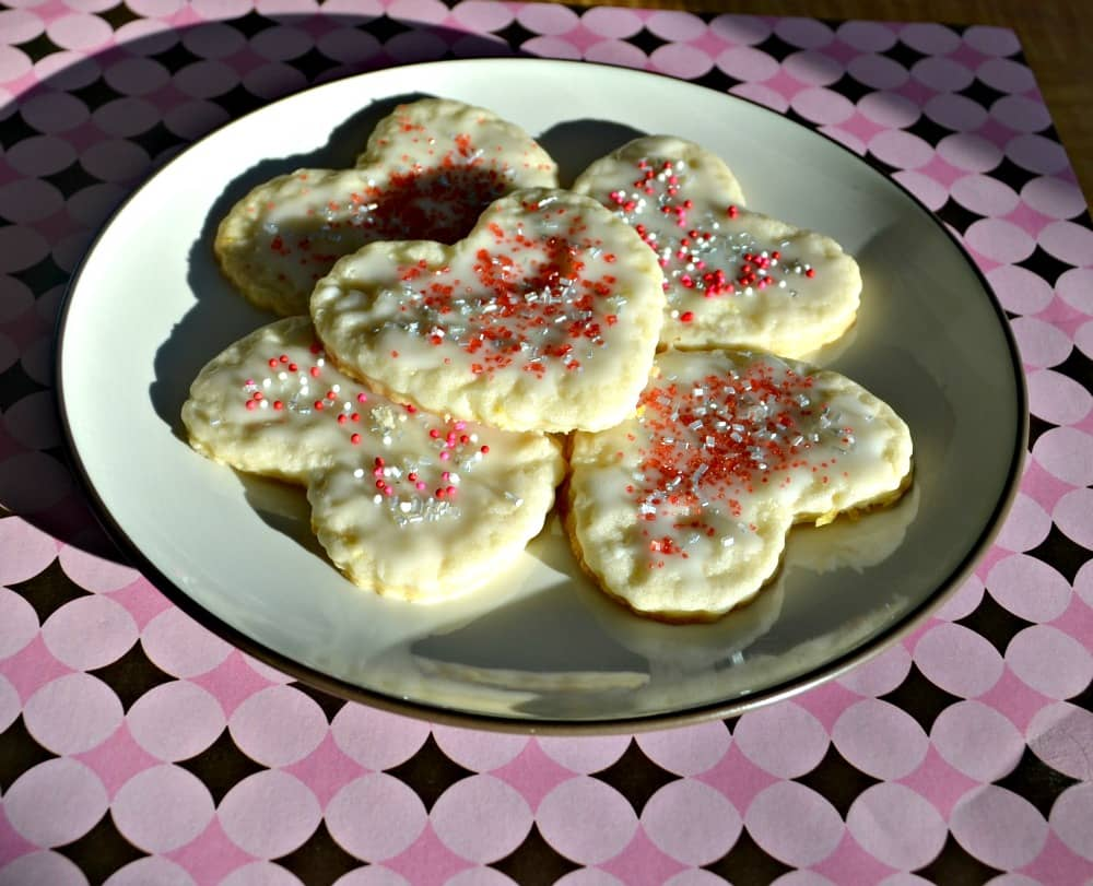 Love these lemon flavored Heart Shaped Cookies with sprinkles!