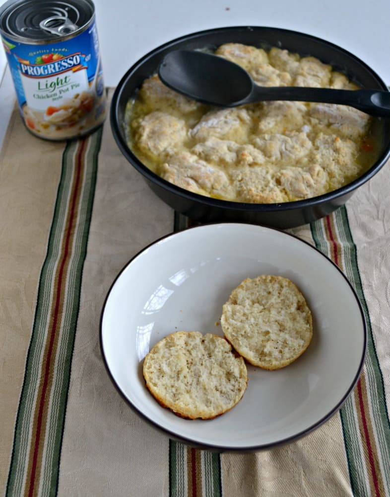 Try a Healthier Chicken Pot Pie with Homemade Biscuits made in less than 30 minutes!