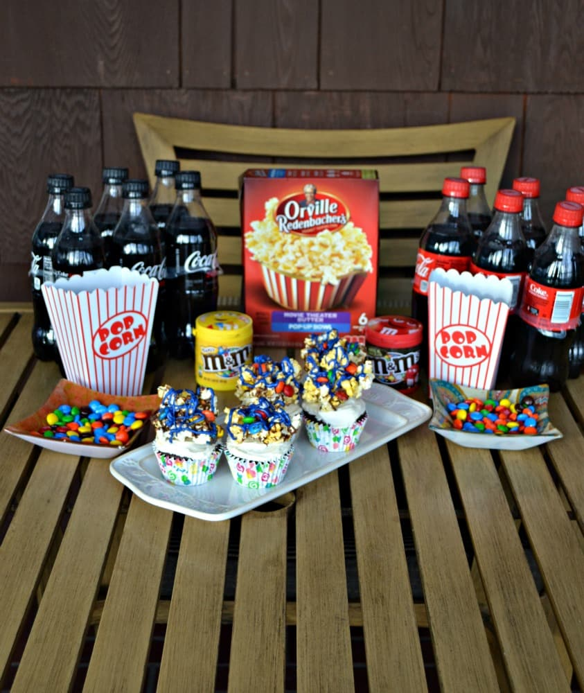 Have a movie night at home with soda, popcorn, candy, and my delicious Movie Theater Chocolate Cupcakes!