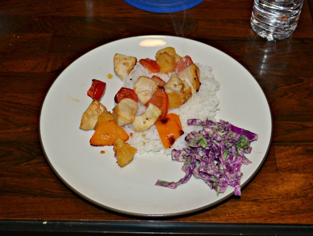 Pineapple and Chicken Kabobs with Cilantro LIme Slaw