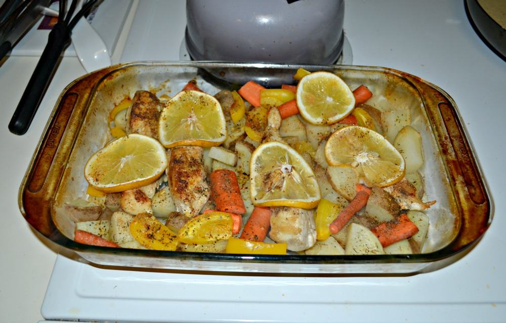 Make this easy but delicious Chicken with Potatoes and vegetables topped with lemon