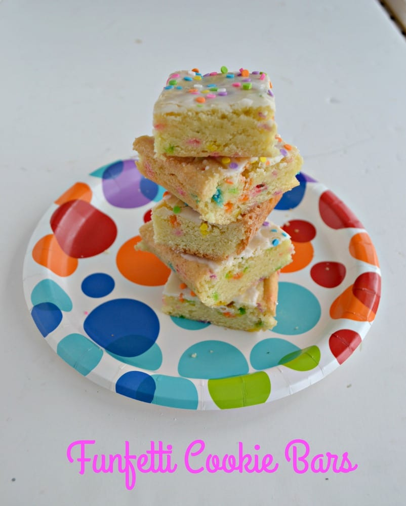 Funfetti Cookie Bars with a delicious glaze and sprinkles on top