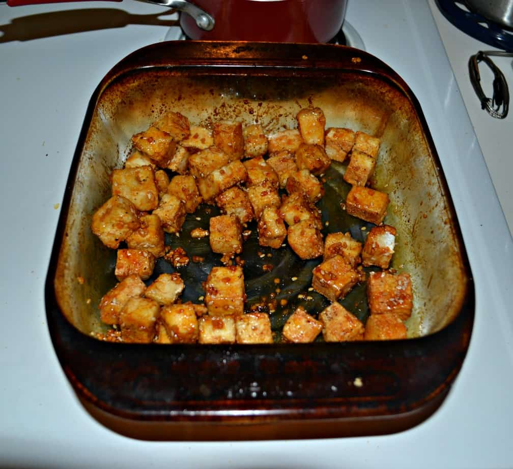 I love a crispy baked Honey Sriracha Tofu for dinner!